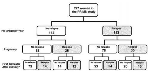 Flow chart of patients showing the presence or absence of relapses. From Vukusic S. et al., Pregnancy and multiple sclerosis (the PRIMS study): clinical predictors of post-partum relapse. Brain. 2004 Jun;127(Pt 6):1353-60 by permission of Oxford University Press.