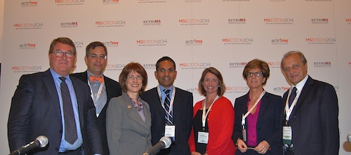 Members of the alliance and grant recipients came together as a panel at a press conference at the ACTRIMS-ECTRIMS joint meeting in Boston, MA. From the left, Alan Thompson, Bruce Bebo, Cynthia Zagieboylo, Don Mahad, Nancy Chiaravalloti, Paola Zaratin, and Giancarlo Comi. Credit: Cynthia McKelvey.