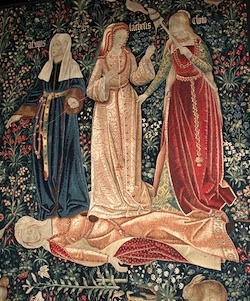 "This Flemish tapestry (ca. 1510-1520), known as ""The Triumph Over Death,"" depicts the three fates of Morai standing over Chastity. Clotho, standing on the right, was responsible for ""spinning the thread of life,"" determining when and where people and gods were born."