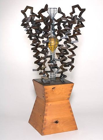 """Julian Voss-Andreae (www.JulianVossAndreae.com) created this sculpture, called """"Birth of an Idea,"""" to represent the transmembrane potassium channel. It was commissioned by Roderick MacKinnon, who won the Nobel Prize for his work on the structure and function of ion channels. Photo by Dan Kvitka Sculpture."""